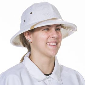 White plastic molded pith-type helmet wit adjustable Velcro band inside. Breathable mesh construction. Water resistant with bee-proof eyelets and washable terry sweat band.