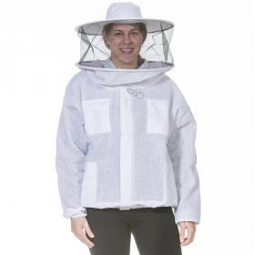 Round veil and hat attached to poly-cotton pull over jacket. Heavy-duty and easy to use. Mesh material on sleeves & body allow air to flow through. Sized in standard men?ÇÖs sizes. All heavy-duty coveralls, suits & jackets have elastic thumb straps and do